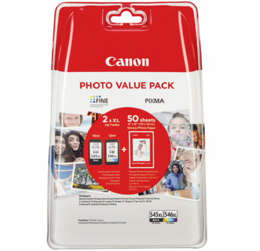 PG545XL / CL546XL Black & Colour Original High Capacity Canon Printer Ink Cartridges with 50 Sheets Paper